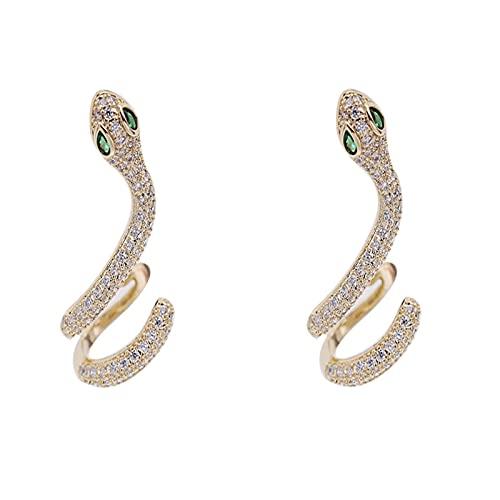 Viento frío serpiente en forma de oreja hueso joyería S925 plata aguja Zircon simple personalidad pendiente serpiente pendientes en forma de serpiente, 2.9x1.8cm, plata,