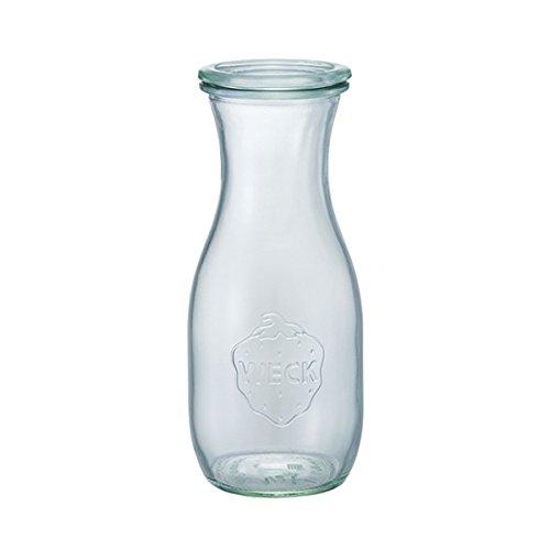 6 Weck Einkochgläser 1/2 Liter Saftflasche RR60 mit Glasdeckel im Original Weck Karton (Mit Glasdeckel)