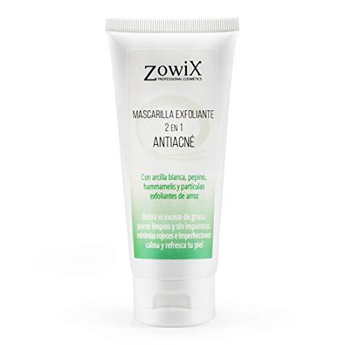 Zowix. Tratamiento antiacne 2 en 1. Peeling para el acne facial, Exfoliante natural con microparticulas de arroz y mascarilla purificante de arcilla blanca. 100 ml.