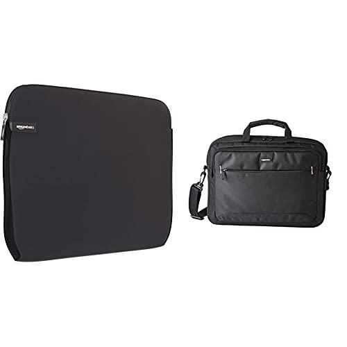 Amazon Basics - Borsa a tracolla per laptop, computer e tablet da 15.6   (40 cm), nero, confezione da 1 & Custodia per computer portatile, Nero, 15,6-Pollici
