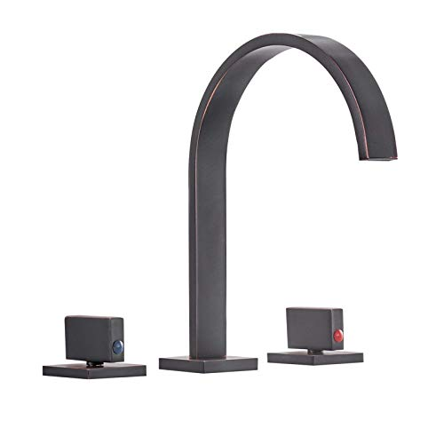 Product Image of the Bathfinesse 8-16 Inch Widespread Bathroom Faucet 3 Holes 2-Handles Vanity Faucet Gooseneck Oil Rubbed Bronze