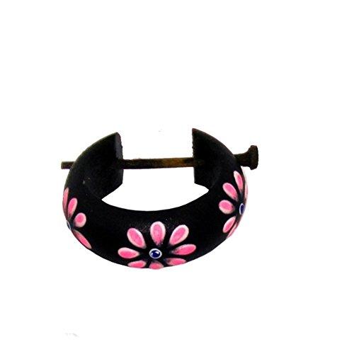 CHICNET Holzcreolen Pin-Ohrringe Pin-Creolen Kokosholz Harz Damen Schmuck Dunkel Blumen Pink Pin Stick Ohrringe schwarz rund Holz Stab