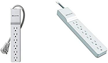 Belkin 6-Outlet Slimline Power Strip Surge Protector & 6-Outlet Power Strip Surge Protector, Flat Rotating Plug, 6ft Cord – Ideal for Personal Electronics, Small Appliances and More (1080 Joules)