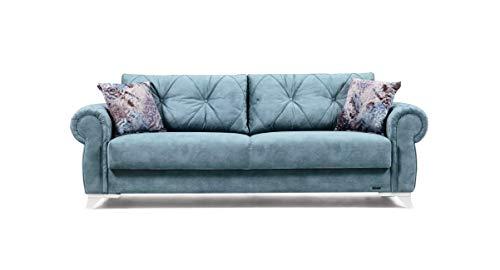 Schlafsofa Kippsofa Sofa Samt mit Schlaffunktion Klappsofa Bettfunktion mit Bettkasten Couchgarnitur Couch Sofagarnitur - Mito Türkis