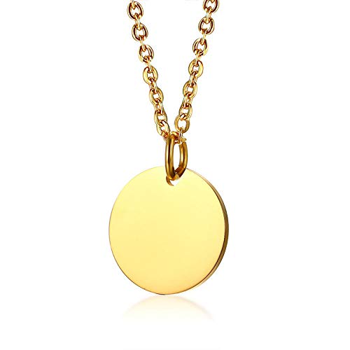 Necklace Pendant Chain Jewelry Gold Tone Initial Necklaces Women With Coin Charm Stainless Steel Disc Pendants Necklaces Jewelry-Gold_Color