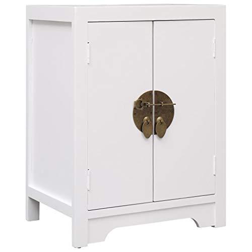 vidaXL Paulownia Holz Nachttisch mit 2 Türen Chinesischer Stil Nachtschrank Nachtkonsole Nachtkommode Schlafzimmer Kommode Telefontisch Weiß 38x28x52cm