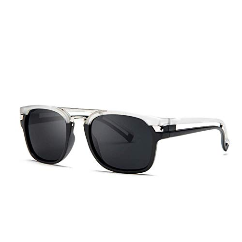 Iron Man mismo estilo, Ronaldo gafas de sol lentes bicolor lentes gafas de sol de aleación de aluminio y magnesio polarizadas protección UV gafas de sol de conducción para hombre (blanco y negro)