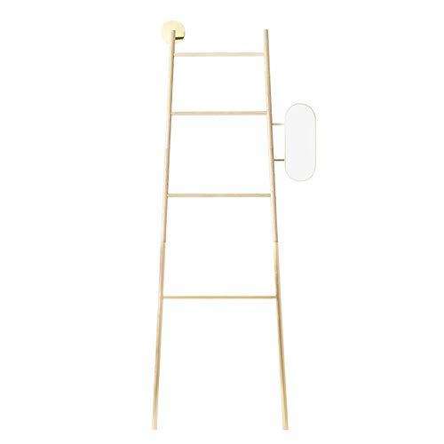 JCNFA Planken Montage Ladder Frame, Slaapkamer Coat Rack, Vloerhanger, Badkamer Handdoek Rail, Glazen Spiegel, 2 Kleuren