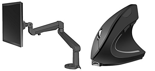 ESI Ergo EDGE-BLK Single Monitor Arm | Ergy - The Ergonomical Mouse - Wireless Optical Rechargeable Battery Vertical Mouse - 2.4 Ghz, 6 Buttons - Adjustable DPI
