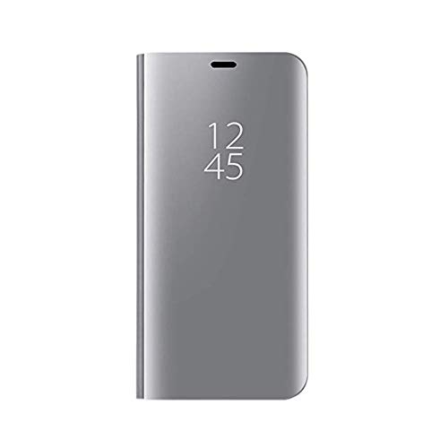 TANYO Hülle Geeignet für Realme 5 Pro, Perspektive Luxury Mirror Mode Ultradünne Handyhülle. Silber