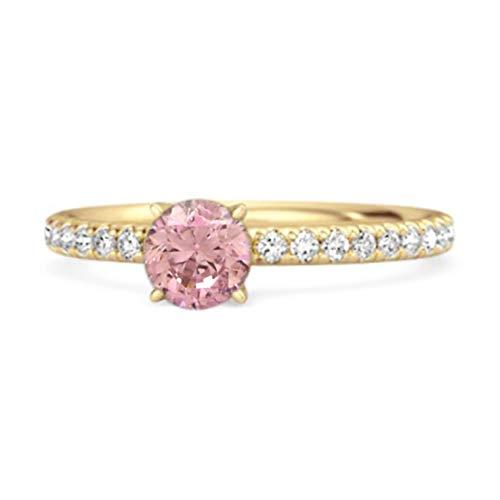 Shine Jewel Multi Elija su Piedra Preciosa 0.25 Ctw Anillo de Compromiso único de Plata de Ley 925 Chapado en Oro Amarillo (12, topacio Rosa)