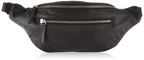 Pieces Pcnoabelle Leather Bumbag, Sacs bandoulière femme, Noir (Black), 2x14x34 cm (B x H T)