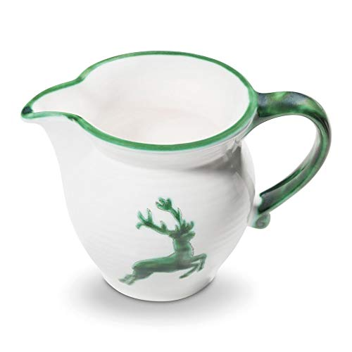 GMUNDNER KERAMIK Milchgießer glatt Füllmenge : 0.3 Liter grüner Hirsch Geschirr, handgemacht in Österreich