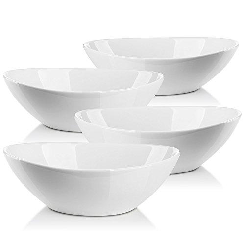 LIFVER Bols à Porcelaine 1L pour Salade/Garnitures/Soupe/Dessert, Set de 4, Blanc