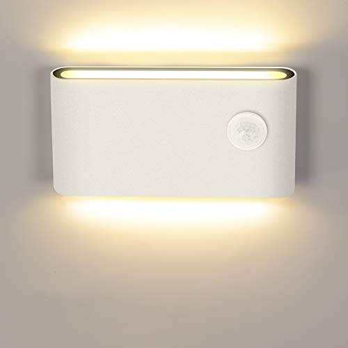 LEDMO 12W Lampada da Parete a LED con Sensore di Movimento,Applique da Parete Interno/Esterno Moderno 3000K Bianco Caldo IP65,Lampada da Parete a Induzione per Scala, Corridoio, Balcone.