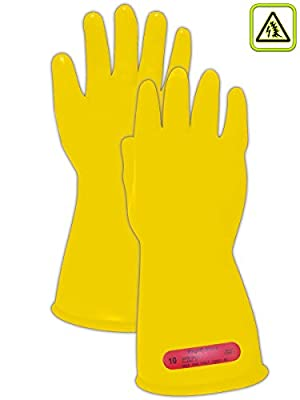 Magid ASTM D120-09 Compliant Class 0 Smooth Rubber Electrical Insulating Gloves with Straight Cuff
