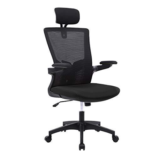 Wolmics Bürostuhl Ergonomisch Schreibtischstuhl Atmungsaktiver Mesh-Bürostuhl mit hoher Rückenlehne Verstellbare Kopfstütze und Lordosenstütze mit Klapparm und Schaukelfunktion 150kg Tragfähigkeit
