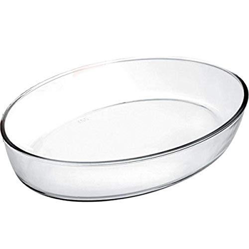 IBILI Auflaufform Kristall oval 35x25x6,5 cm aus Glas, transparent, 35 x 25 x 6.5 cm