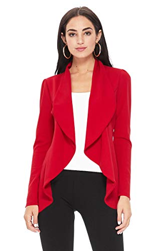 Solid Print Casual Long Sleeves Stretch Open Front Blazer Jacket/Made in USA Red M