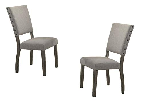 Best Master Furniture Upholstered Dining Chair, Set of 2, Grey