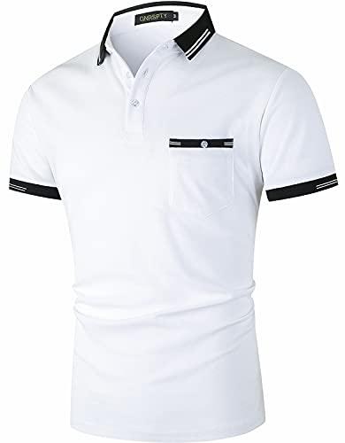 GNRSPTY Polos de Golf Manga Corta Hombre con Bolsillos Reales Algodón Camisetas Casual Colores de Contraste...