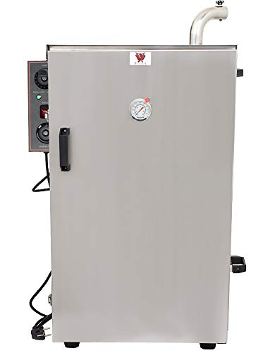 Beeketal \'BDSH-S03\' elektrischer Edelstahl Räucherofen mit Wärmedämmung (doppelwandig), Räucherschrank mit Zeitsteuerung, Thermostat (30-135°C) und Gewürzschublade - (H/B/T) ca. 900 x 600 x 410 mm