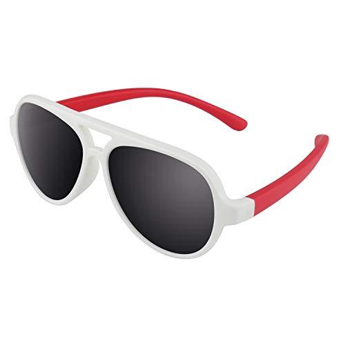 CGID CGID Gummi Flexible Kinder Polarisierte Fliegerbrille Pilotenbrille für Baby und Kinder im Alter von 3-6, K93,weiß Rot