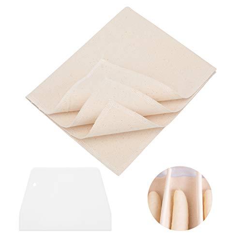 Wisoven 2PCS Bäckerleinen Teigtuch, Aus unbehandelten Natur Baumwolle und Leinen - Baumwollleinen zum Backen,mit 1 Teigschaber (45X75CM(2PCS))
