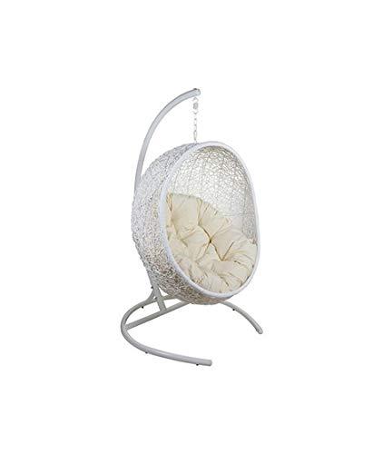 Dabudae Chaise de Panier Suspendu Blanc avec Coussin