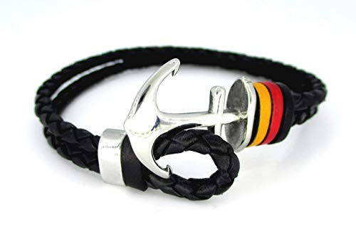 Flagge der Republik Deutschland, Geflochtenes schwarzes Lederarmband, Anker Armband, Länderflaggen, Spezial Armbänder, Qualitätsarmbänder