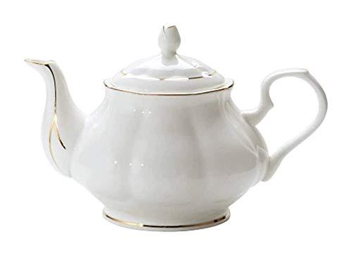 Juego de tetera grande de porcelana blanca tetera inglesa estilo moderno con filtro de boquilla estilo abeja para preparar té de cerámica