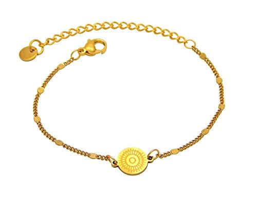 Pulsera para mujer de acero inoxidable chapado en oro con pieza intermedia de mandala, cadena de jasseron, 2 mm de ancho, 15 – 20 cm de largo, sin níquel