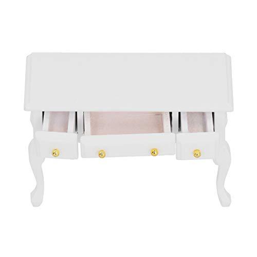 Holzpuppenhaus Schreibtisch Puppenhaus Tisch Puppenhaus Schreibtisch Jungen 1/12 DIY Miniatur Puppenhaus Kit für Mädchen Weiß