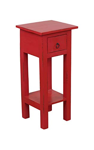 Sunset Trading Shabby Chic Cottage Table, Small One Drawer, Light distressed red