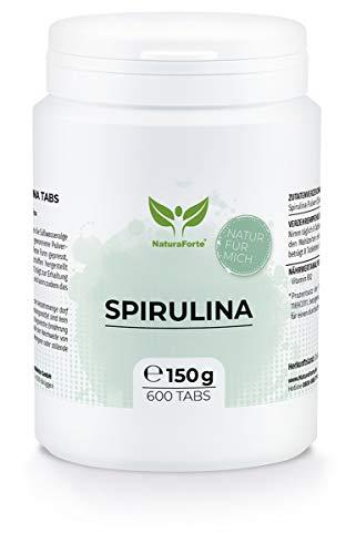 NaturaForte Spirulina Tabletten 600 Stück - Spirulina Presslinge, Vitamin B12 hochdosiert, Spirulina Pulver Vegan, Superfood, Alge ohne Zusätze, Laborgeprüft, Abgefüllt in Deutschland