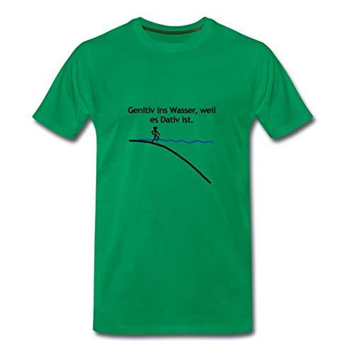 Genitiv Ins Wasser Grammatik Sprüche Männer Premium T-Shirt, 4XL, Kelly Green