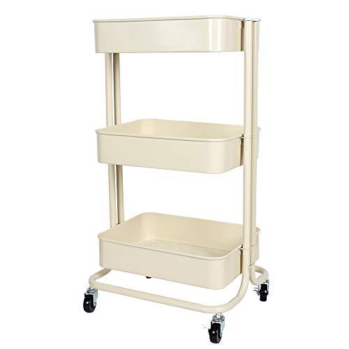 Multifunktions-Metall-Trolleys mit 3 Ebenen, für Küche, Badezimmer, Büro, Bibliothek, Salon, Karbonstahl, beige, 48*31*15cm/19* 12.5 8 5.9 inches