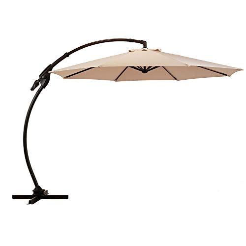 Grand patio NAPOLI 11 FT Curvy Aluminum Offset Umbrella, Patio Cantilever Umbrella with 360° Rotation, Champagne