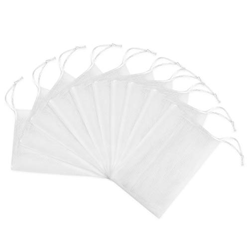 Frcolor 10pcs sacs de rangement de poche de filet de mousse de savon exfoliant de cordon blanc