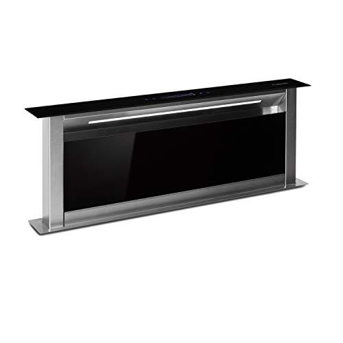 Klarstein Royal Flush Eco Tisch-Dunstabzugshaube - Downdraft, versenkbar, Abluft/Umluftbetrieb, leise: 60 db, Touch-Bedienung, LED-Kochfeldbeleuchtung, 90 cm, Abluftleistung: 576 m³/h, schwarz