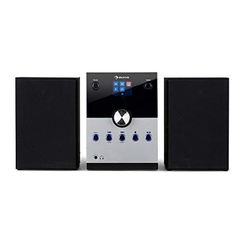 "auna MC-30 DAB Micro-Stereoanlage - 2,4"" Farb-Display, 2-Wege-Lautsprecher Set, CD-Player, 20 Watt max. DAB+-Tuner, UKW-PLL, Bluetooth, AUX, Fernbedienung, Schwarz, Silber"
