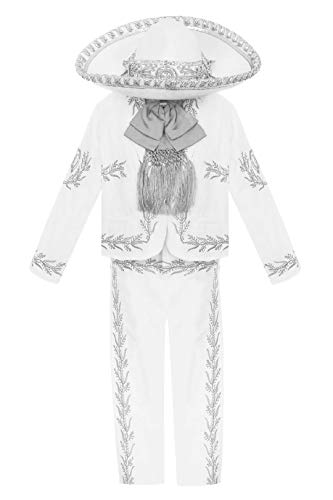 White Boys Baptism Outfit Our Lady of Guadalupe Virgin Mary Charro Mariachi Suit Set Hat Wedding Toddler Kids (1 (12-18 Months))