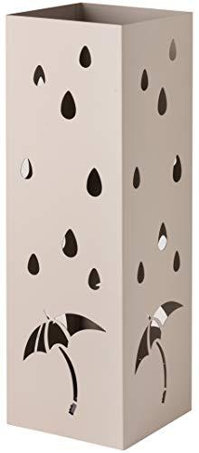 Baroni Home Portaombrelli Design Porta Ombrelli Moderno in Metallo con Intaglio Pioggia Ombrelli Tortora con Gancino e Vaschetta Scolapioggia Rimovibile 15,5X15X49 cm