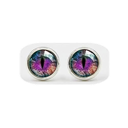 Pendientes de bola de ojos, pendientes de cristal, cúpula de cristal, pequeños pendientes de tuerca, ojo de dragón, ojo de reptil