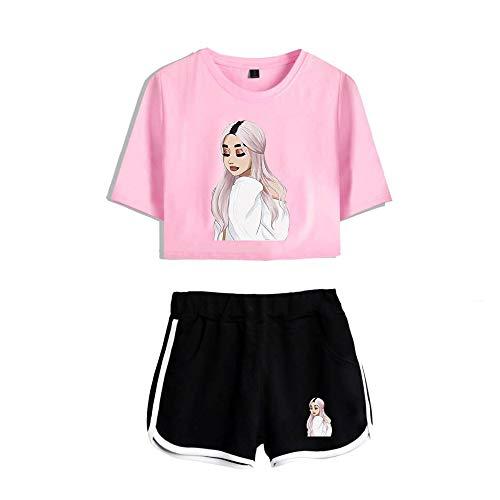 Kurzarm T-Shirt Shorts Damen Zweiteiligen Anzug Sommer Ariana Grande 3D Gedruckter Anzug Kurzes T-Shirt Baumwolle Taschenshorts Mit Elastischem Bund
