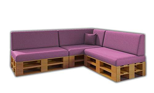 Pack Ahorro Conjunto 8 Cojines para Sofa de palets / europalet 3 Asientos + 3 Respaldos + Rinconera + Cojin | Desenfundable | Interior y Exterior | Color Rosa | Espuma de Alta Densidad.