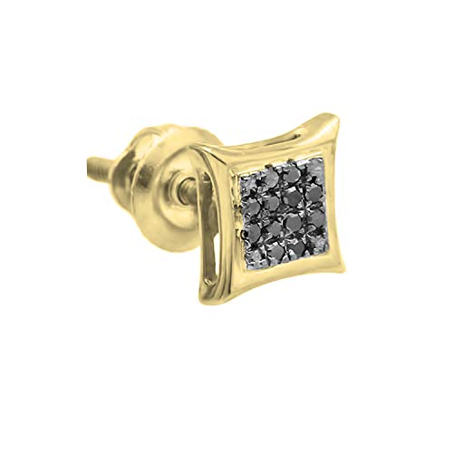 Dazzlingrock Collection 0.05 Carat (ctw) Round Black Diamond Kite Shape Stud Earring (Only 1pc), Sterling Silver
