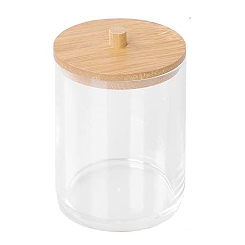 Almohadillas de Maquillaje de algodón Contenedor de Almacenamiento de hisopos Caja organizadora de cosméticos con Cubierta de bambú Caja organizadora de practicidad Fuerte