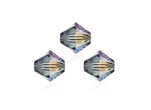 Swarovski Perle, 4mm, doppio cono, conica, 5328, 25stueck, di alta qualità collane bracciali e orecchini fai da te, Vetro, Black Diamond Ab