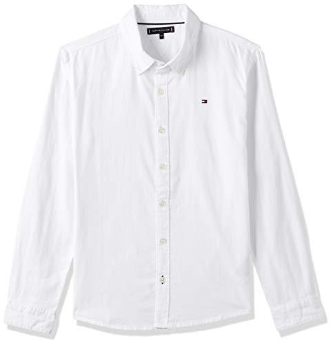 Tommy Hilfiger Jungen Essential Twill Oxford Shirt L/s Hemd, Weiß (White Yaf), 92/98 (Herstellergröße: 92)